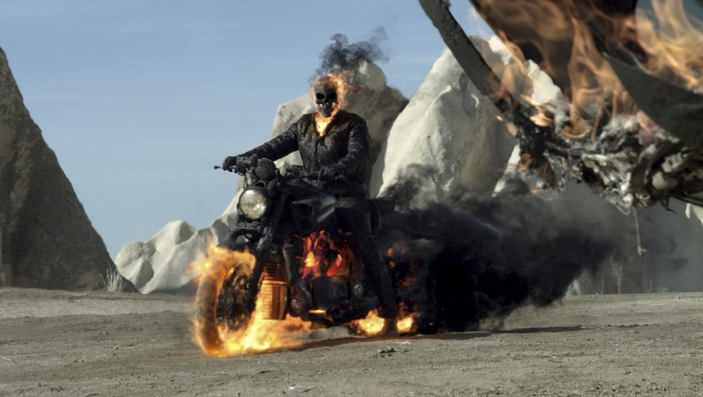The Ghost Rider in Columbia Pictures' GHOST RIDER: SPIRIT OF VENGEANCE.