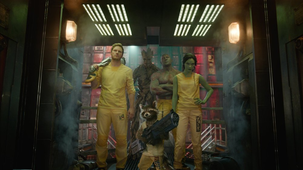 Marvel's Guardians Of The Galaxy are, from left, Chris Pratt as Star-Lord/Peter Quill, Vin Diesal as Groot, Bradley Cooper as the voice of Rocket Raccoon, Dave Bautista as Drax the Destroyer, and Zoe Saldana as Gamora. (Marvel/MCT)