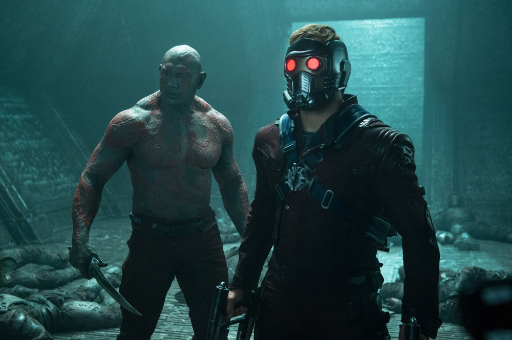 Marvel's Guardians Of The Galaxy..L to R: Drax the Destroyer (Dave Bautista) & Peter Quill/Star-Lord (Chris Pratt)..Ph: Jay Maidment..?Marvel 2014