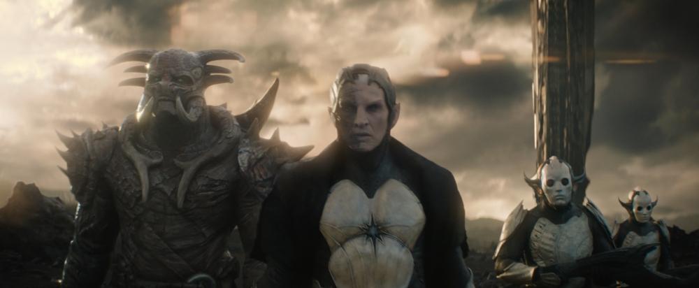 """Marvel's Thor: The Dark World"" L to R: Kurse (Adewale Akinnuoye-Agbaje) and Malekith (Christopher Eccleston) Ph: Film Frame © 2013 MVLFFLLC. TM & © 2013 Marvel. All Rights Reserved."