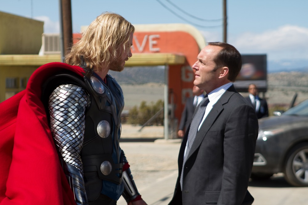 Photo credit: Zade Rosenthal / Marvel Studiosâ€(R)Left to right: Thor (Chris Hemsworth) and Agent Coulson (Clark Gregg) in THOR, from Paramount Pictures and Marvel Entertainment.â€(R)â€(R)© 2011 MVLFFLLC. TM & © 2011 Marvel. All Rights Reserved.