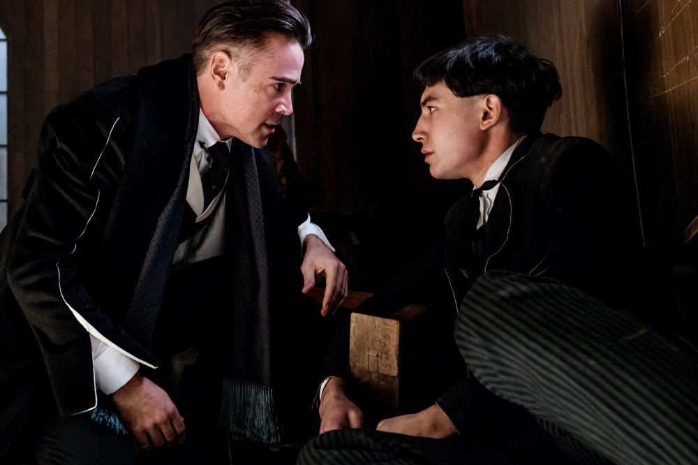 """(L-r) COLIN FARRELL as Graves and EZRA MILLER as Credence in a scene from Warner Bros. Pictures' fantasy adventure """"FANTASTIC BEASTS AND WHERE TO FIND THEM,"""" a Warner Bros. Pictures release. HANDOUT Photo by Jaap Buitendijk, Warner Bros. [Via MerlinFTP Drop]"""